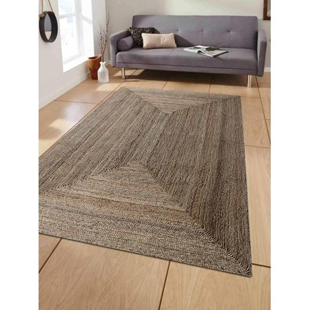 Hand Knotted Oriental Carpet (Rugsotic Carpets Hand Woven Jute 5'x8' Eco-friendly Area Rug Oriental Natural J00022 )