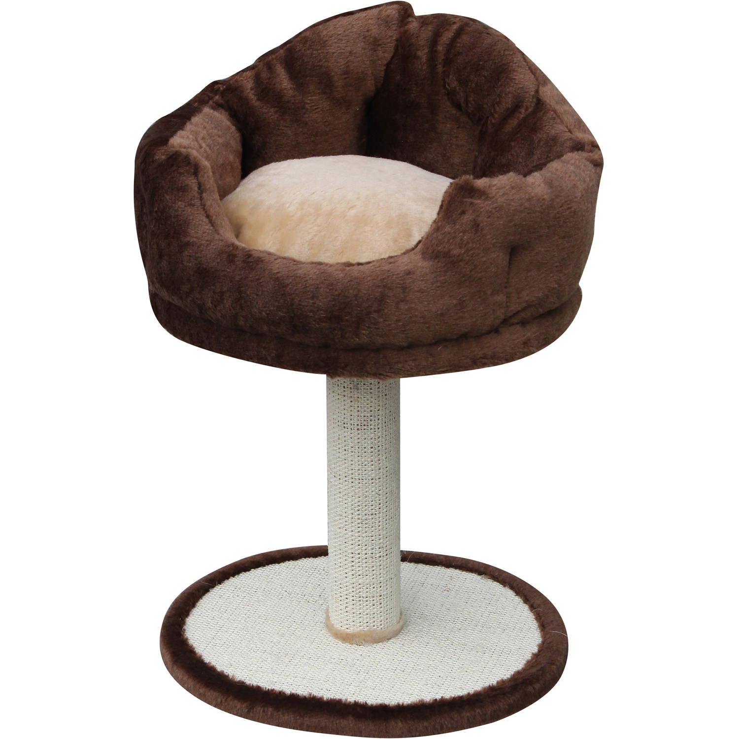 Petpals Group Nook Soft Fleece Bed with Sisal Post Scratcher