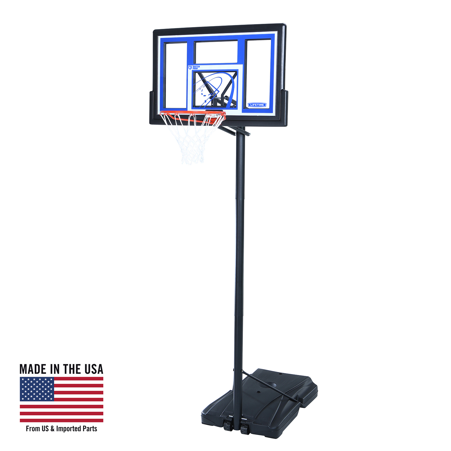 "Lifetime 48"" Shatterproof Portable Height Adjustable Basketball System, 1531"
