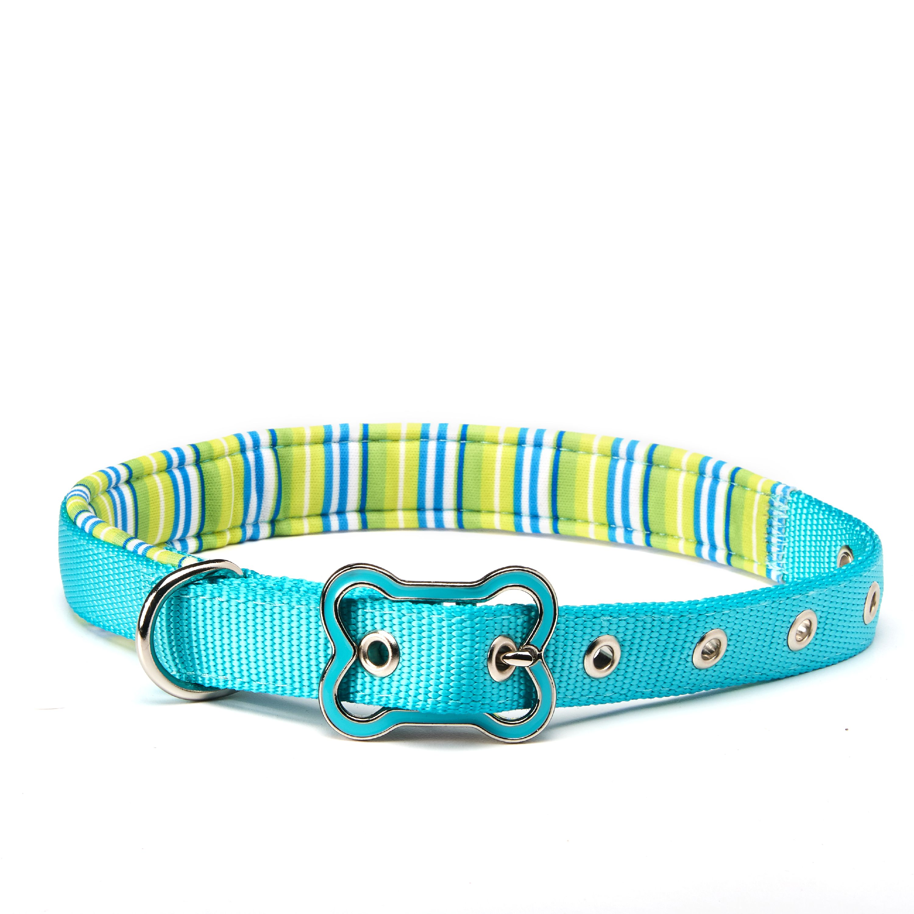 Vibrant Life Teal Striped Comfort Padded Dog Collar, Medium, 14-20 in, 5/8 in