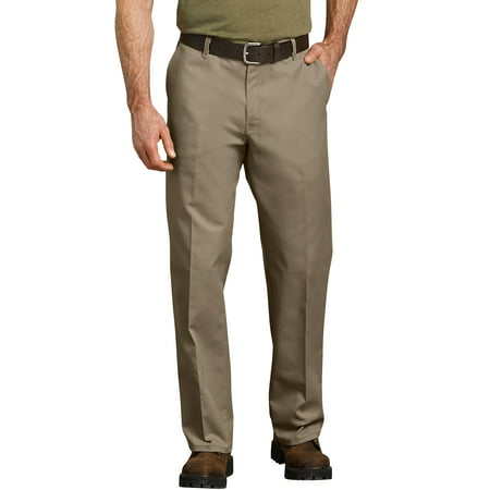 Men's Relaxed Fit Straight Leg Flat Front Flex (Wool Front Zip Pants)