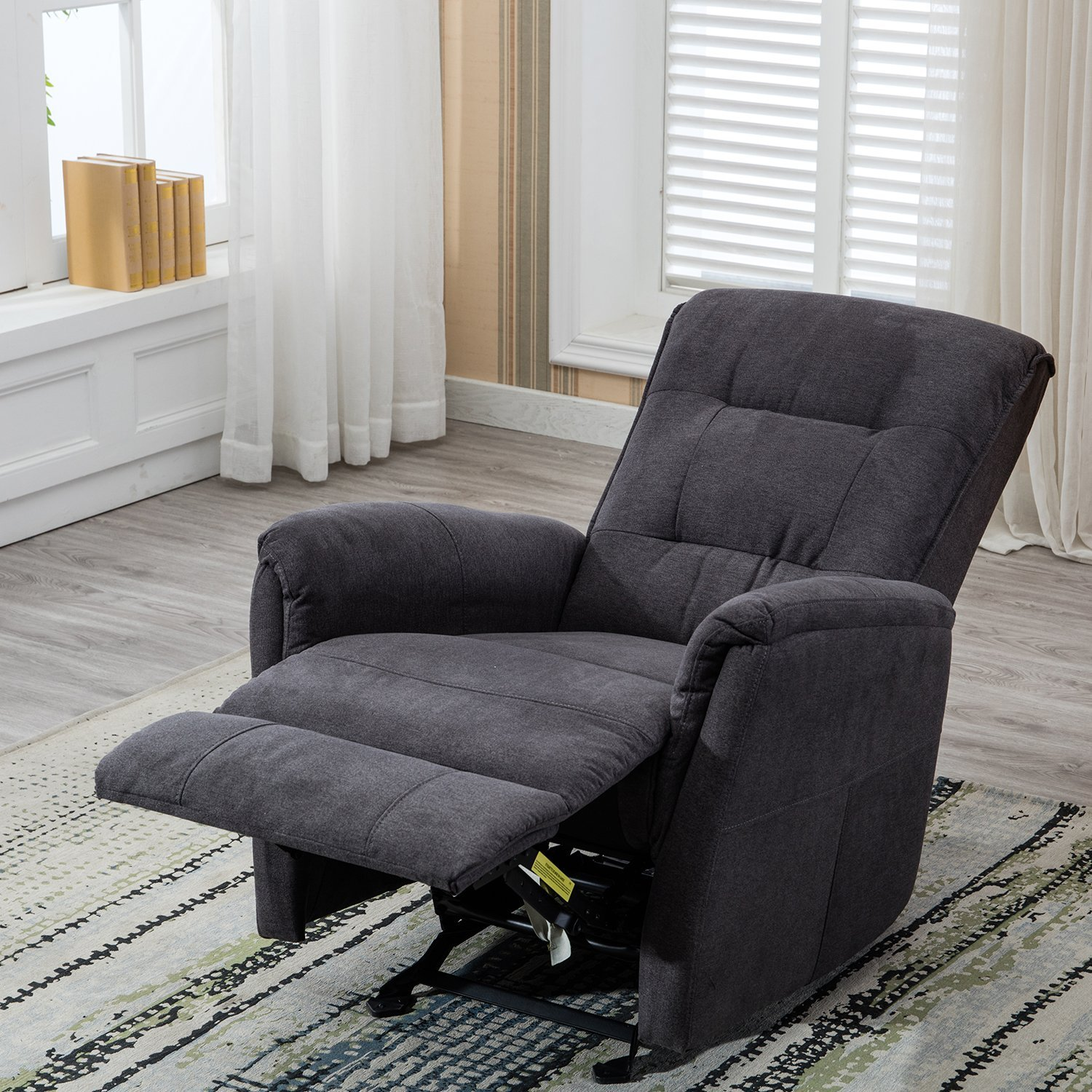 BONZY Glider Recliner Chair with Super Comfy Gliding Track Overstuffed Backrest, Comfy Recliner Sofa - Gray