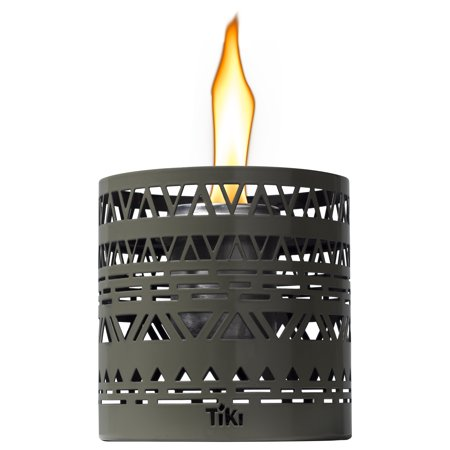 TIKI® Brand 5-inch Clean Burn FlameShield Boho Table Torch Lantern Gray