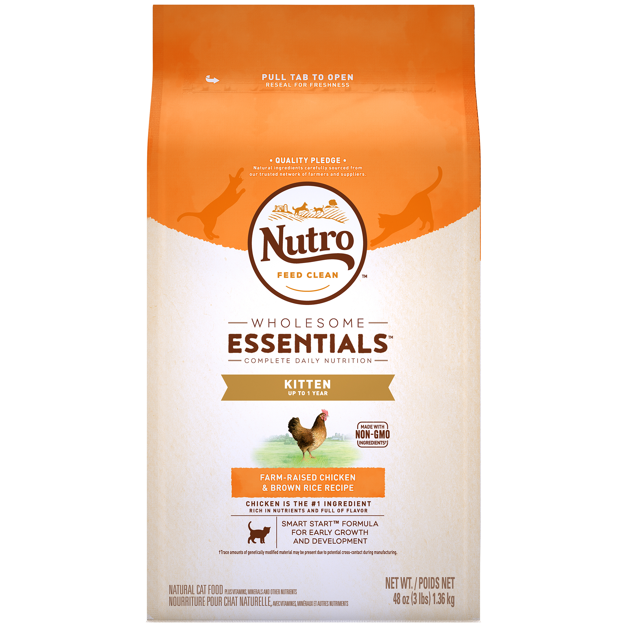 NUTRO WHOLESOME ESSENTIALS Dry Kitten Food, Farm-Raised Chicken & Brown Rice Recipe, 3 Lb