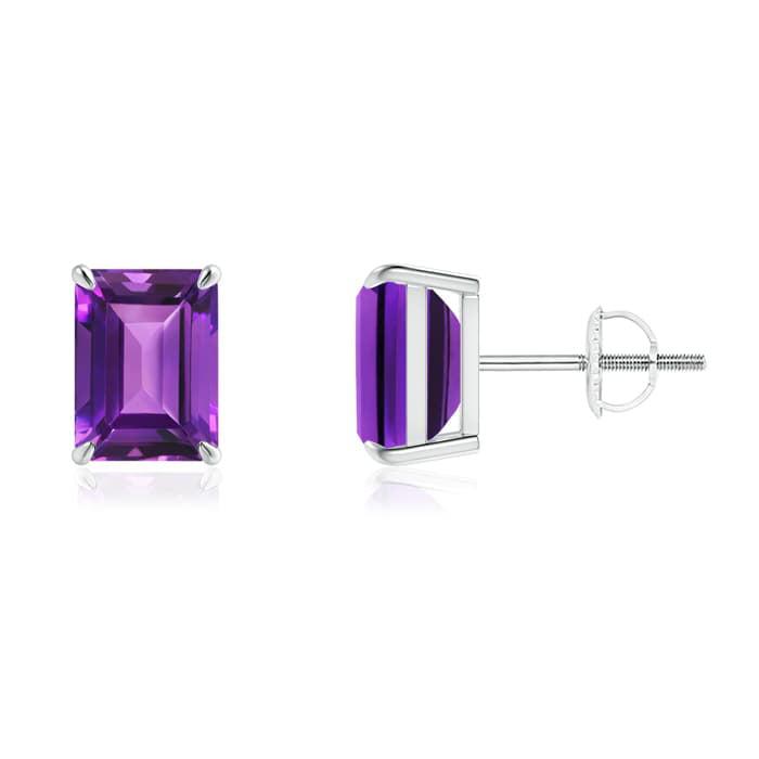 February Birthstone Earrings - 8x6mm, Claw-Set Emerald-Cut Amethyst Solitaire Stud Earrings in 950 Platinum - SE1039AM-PT-AAAA-8x6