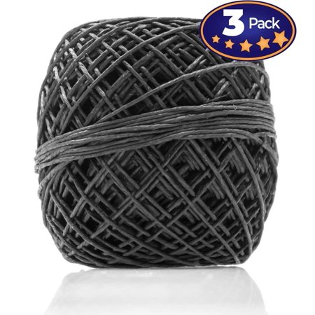 Dyed Black Hemp (Black Hemp Cord 200 3 Pack = 600 Feet Total! Perfect For Jewelry & Necklace Making, Candle Wicks, or Decorative String. 20lb Weight, 1mm Thick & Lightly Waxed Twine For Easy Handling.)