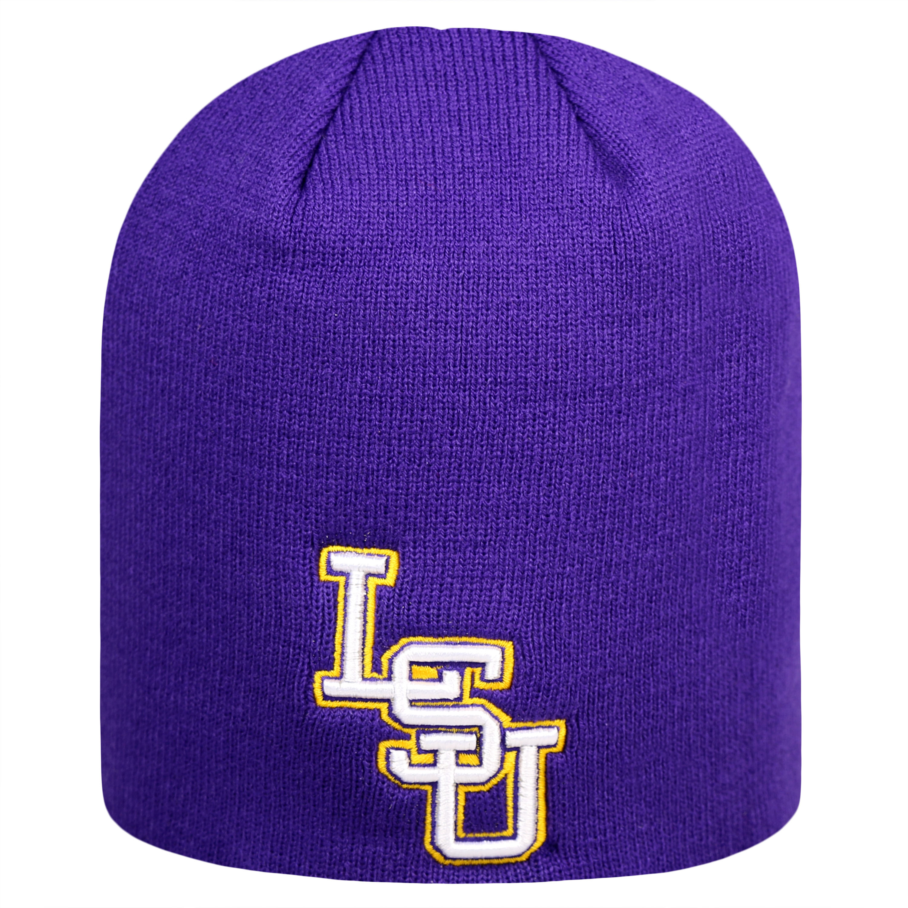 Lsu Tigers Official NCAA Uncuffed Knit Classic Beanie Stocking Stretch Sock Hat Cap by Top of the World 924595