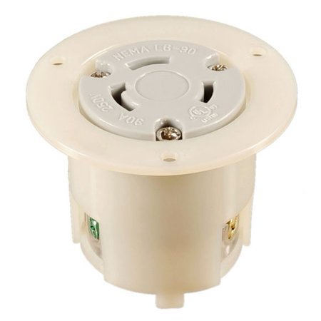 NEMA L6-30 Locking Flanged Outlet, 30A 250V AC, 2 Pole 3 Wire, cUL Listed ()