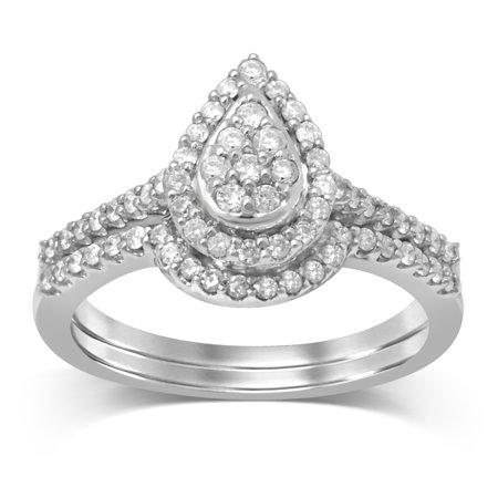 Diamond Jewel 10K White Gold 1/2 Cttw Diamond Pear Shape Bridal Set