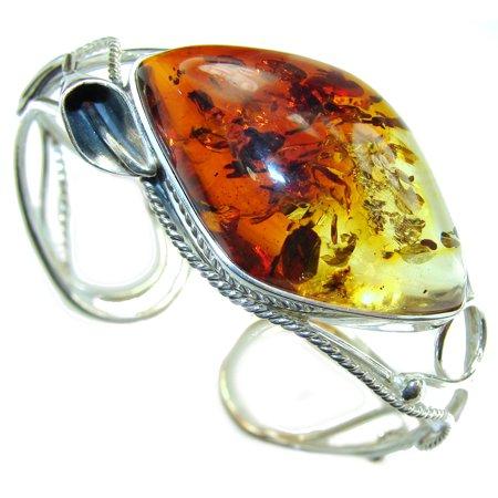 Vintage Design  Genuine Baltic Amber .925 Sterling Silver handamde Bracelet / Cuff by SilverRush