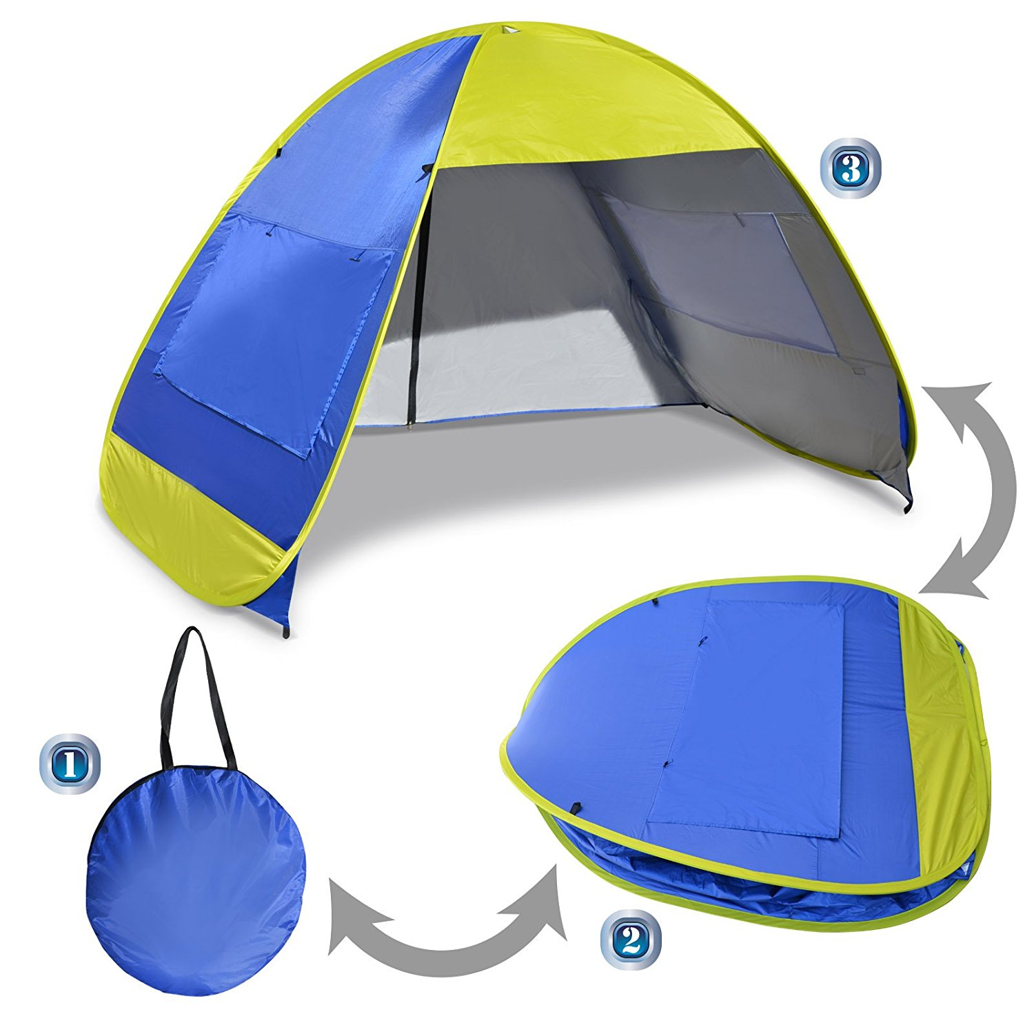 Sunrise Portable Pop Up Beach Tent Sun Shade Shelter, Outdoor Hiking, Traveling, Camping, Blue and Yellow by Sunrise Umbrella Inc