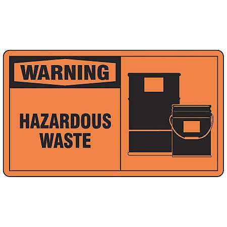"Hazardous Waste Label, Accuform Signs, LCHL300VSP, 3-1/2""Hx5""W"