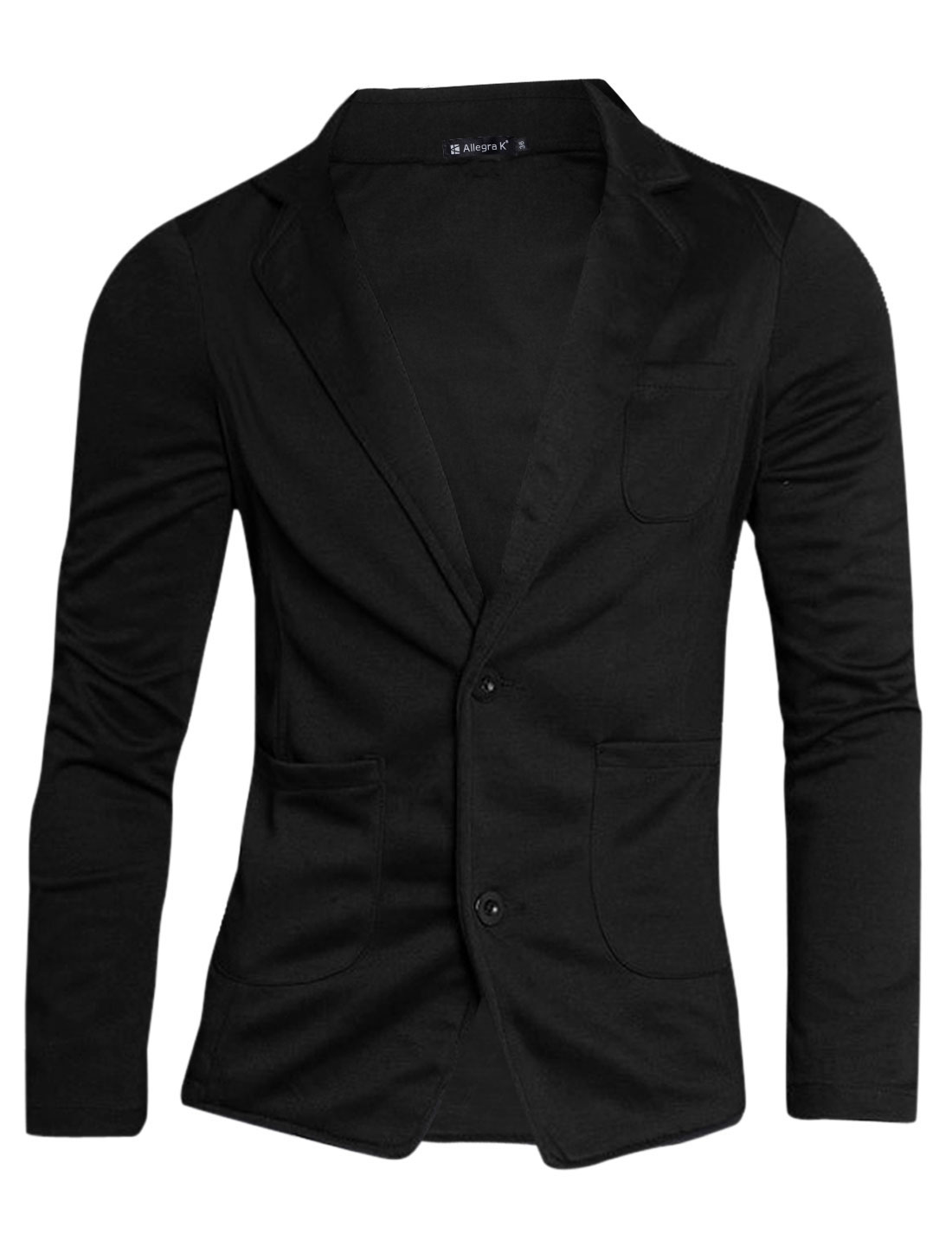 Unique Bargains Men Stylish Two Pockets Design Two Button Front Thin Blazer Black L