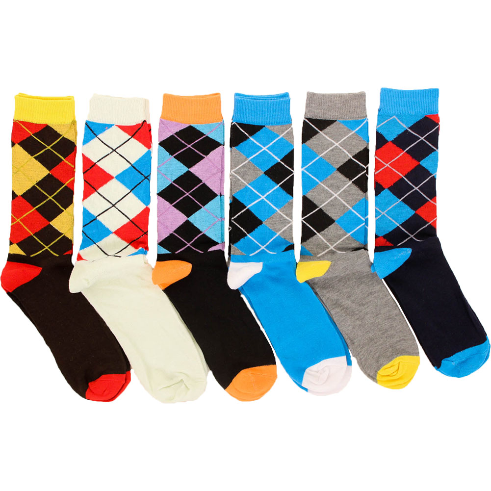 Freedom Men's 6 Pack of Colorful Fashion Dress Socks