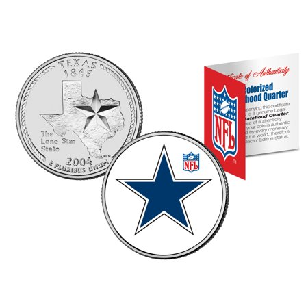 DALLAS COWBOYS Retro Logo Texas Quarter Colorized US Coin Football NFL LICENSED - Halloween Stores In Dallas Texas