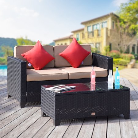 Cloud Mountain 2 PC Rattan Furniture Bistro Set Outdoor Wicker Patio Garden Loveseat Glass Top Table, Black Rattan with Khaki Cushions ()