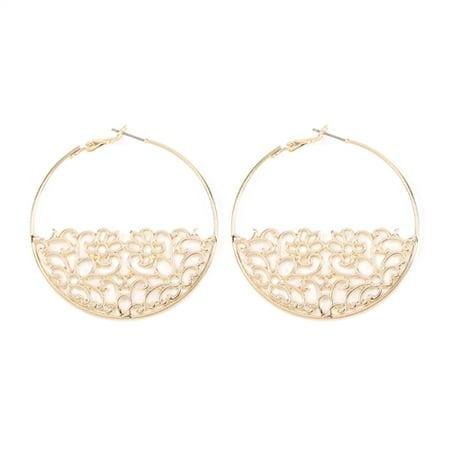 Riah Fashion Bottom Filigre Hoop Earrings