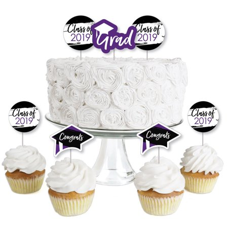 Purple Grad - Best is Yet to Come - Dessert Cupcake Toppers - Purple 2019 Graduation Party Clear Treat Picks - Set of (Best Pillow Topper 2019)