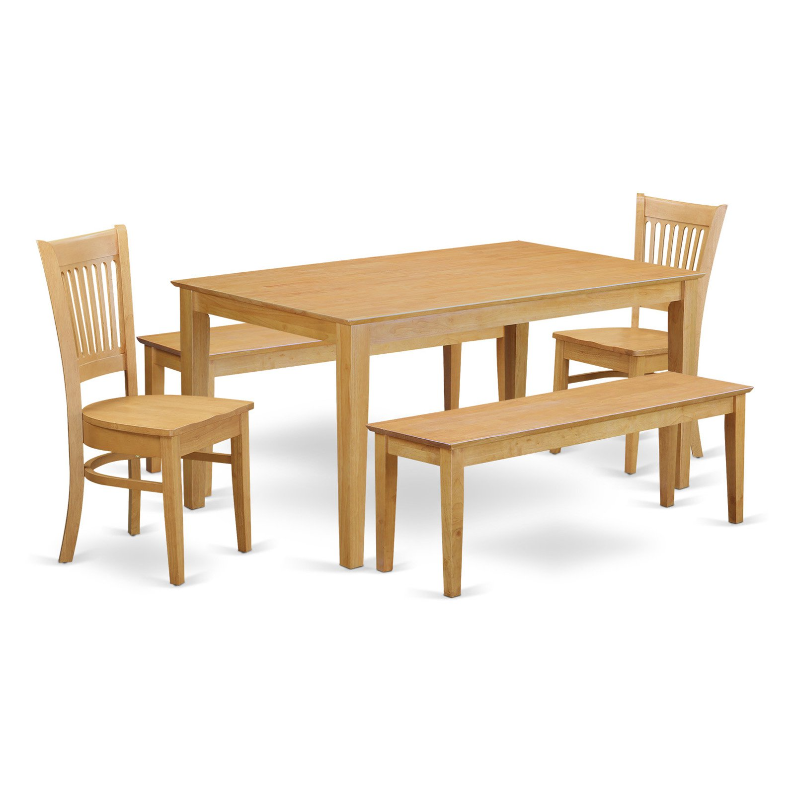 East West Furniture Capri 5 Piece Hepplewhite Modern Dining Table Set With  2 Benches