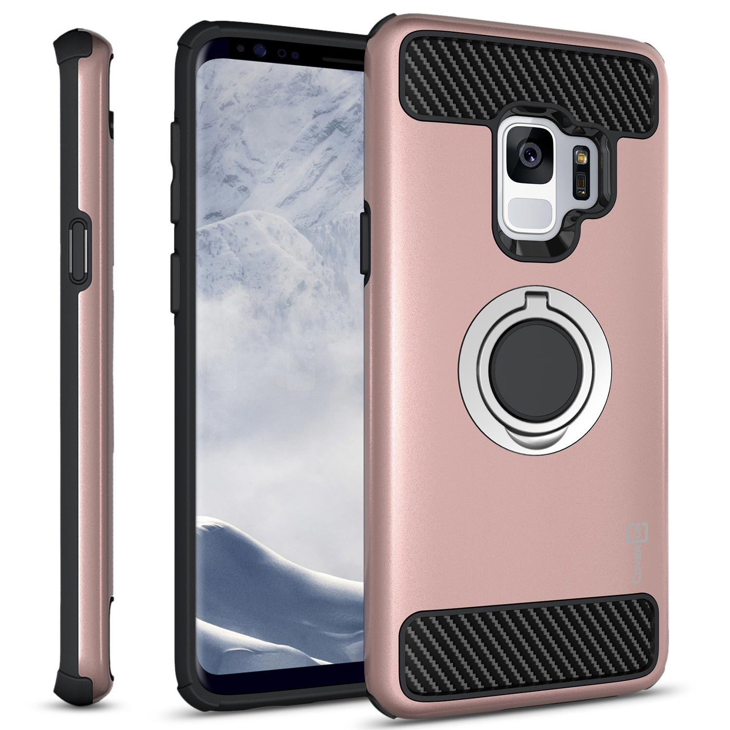 CoverON Samsung Galaxy S9 Case with Ring Holder, RingCase Series Hybrid Protective Dua Layer Phone Cover