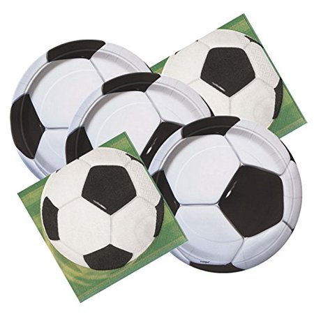 Soccer Ball Themed Birthday Party Plates & Napkins Serves