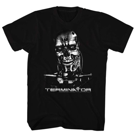 The Terminator 80s Sci-Fi Action Film Chrome Skull Adult T-Shirt Tee