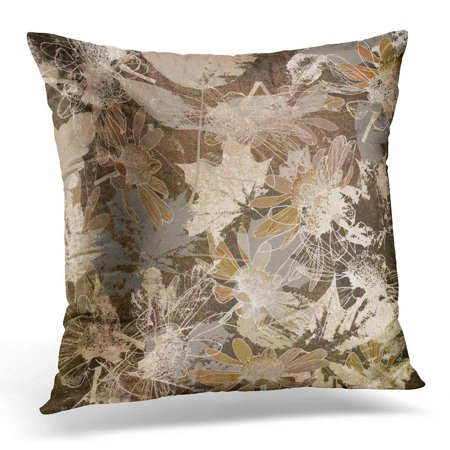 ARHOME Colorful Floral Graphic Autumn Leaves Monochrome in White Brown Beige and Grey Colors Wall Pillow Case Pillow Cover 20x20 (Beige Palm Leaves)