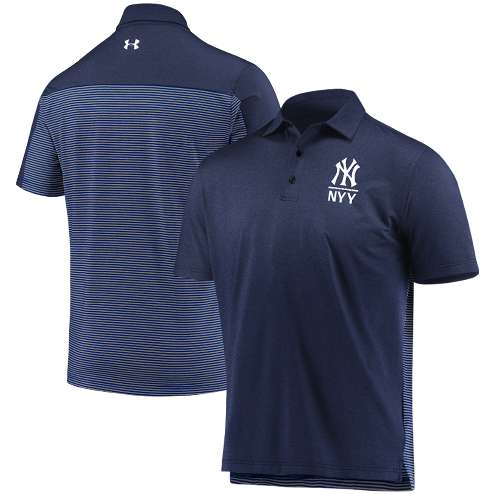 New York Yankees Under Armour Novelty Polo - Navy/Gray