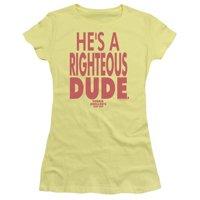 Trevco Ferris Bueller-Righteous Dude Short Sleeve Junior Sheer Tee, Banana - Large