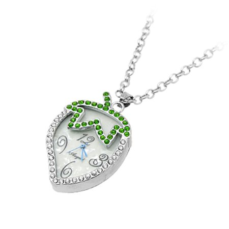 Unique Bargains Fancy Strawberry Design Crystal Pendant Watch Necklace for Lady