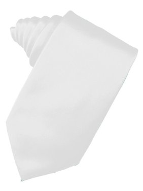 "Men's Solid Satin Neck Tie 59"" Long. 3.5"" Wide in White"