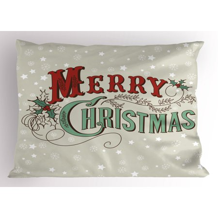 Christmas Pillow Sham Stars and Snowflakes Backdrop with Stylized Retro Lettering, Decorative Standard Size Printed Pillowcase, 26 X 20 Inches, Almond Green Red Pale Grey, by