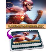 Flash Barry Allen DC Comics Edible Cake Topper Personalized Birthday 1/4 Sheet Decoration Custom Sheet Party Birthday Sugar Frosting Transfer Fondant Image for cake