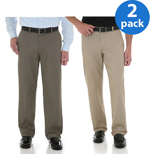 Wrangler Men's Advanced Comfort Flat Front Pants, 2 Pack