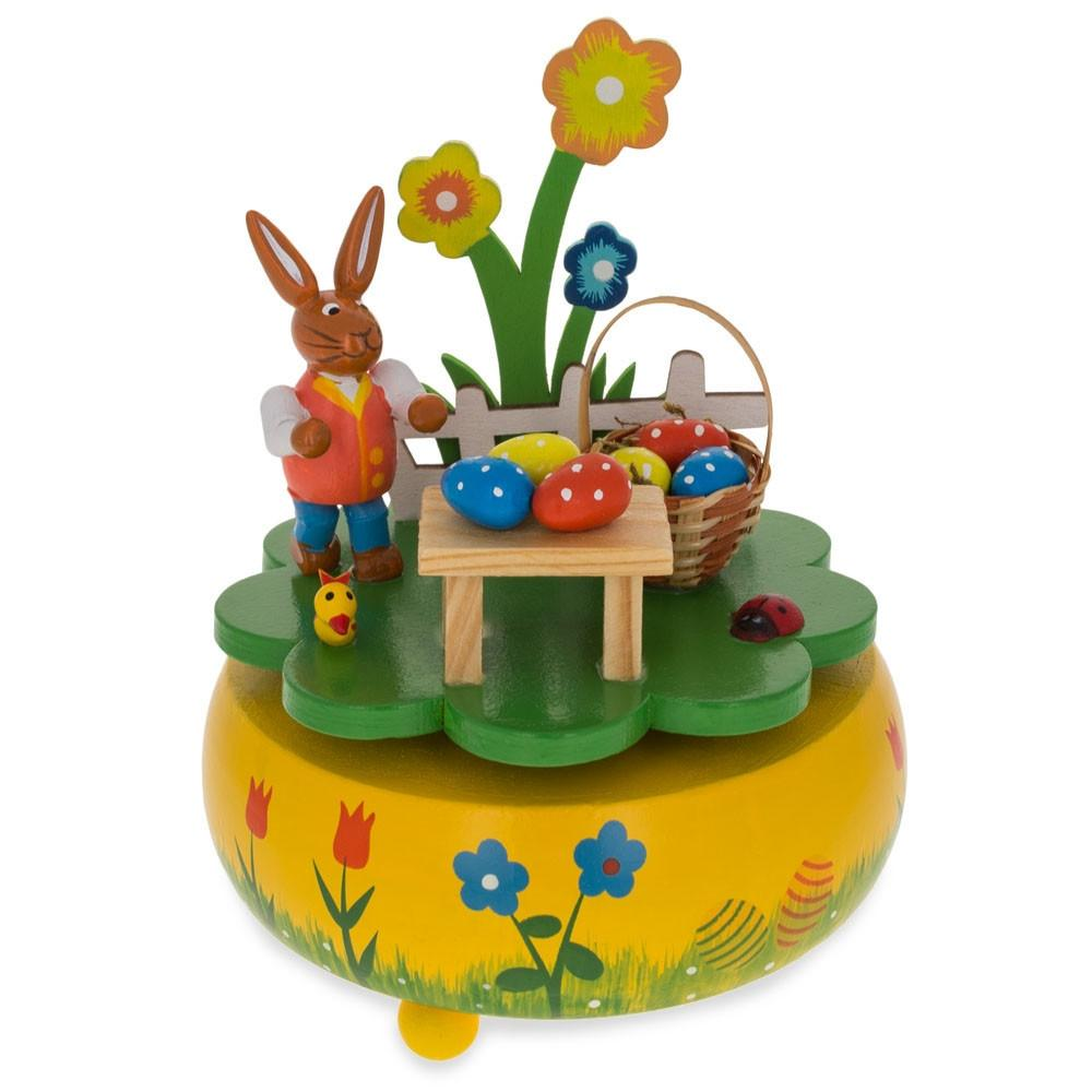 "5.25"" Bunny Picnic with Easter Eggs Basket Wooden Rotating Music Box Figurine"