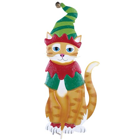 Holiday Christmas Cat Outdoor Garden Yard Stake, Elf Cat - Staples Holiday Hours