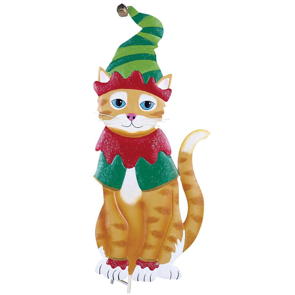 Holiday Christmas Cat Outdoor Garden Yard Stake, Elf Cat