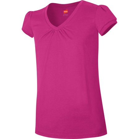 Hanes Girls' Shirred V-Neck T-shirt