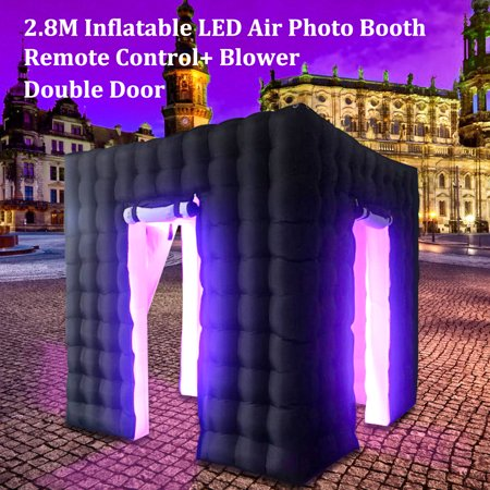 9ft x 9ft x 9ft Inflatable LED Air Pump Photo Booth Tent Wedding Birthday Christmas Decor Embed Blower Average + Remote Control LED Changing Lights Inner