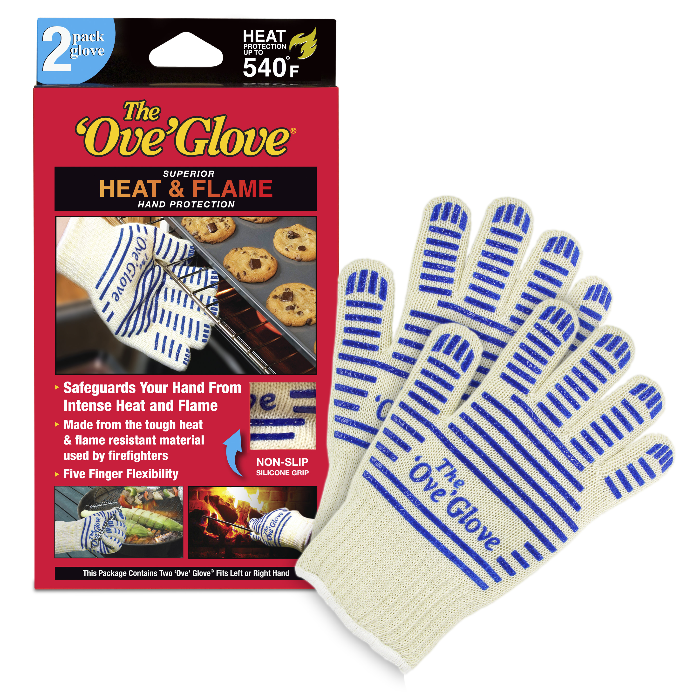 NEW! 2 Pack Ove' Glove, Superior Hand Protection from Heat & Flames!