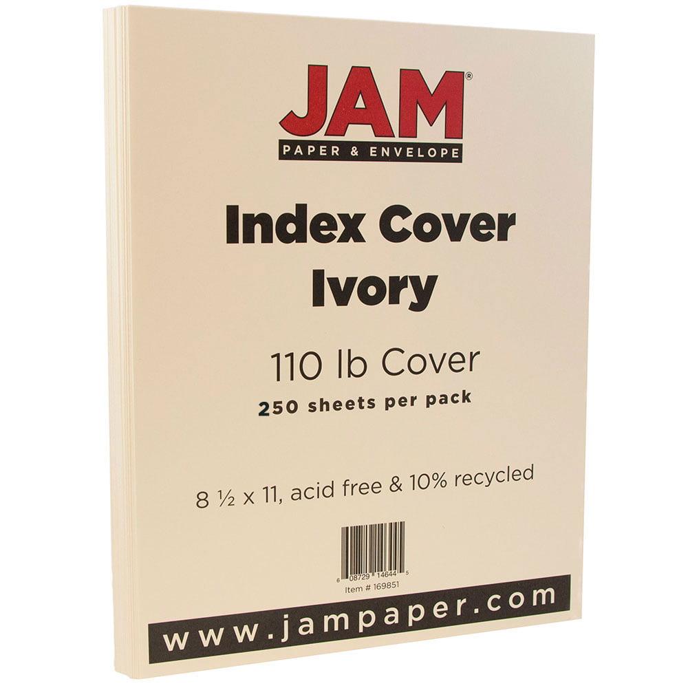 JAM Paper Premium Index Cardstock, 8.5 x 11, 110lb Ivory, 250 Sheets/Pack