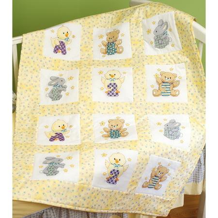 "Stamped Cross Stitch Quilt Blocks 9""X9"" 12/Pkg-ABC 123"