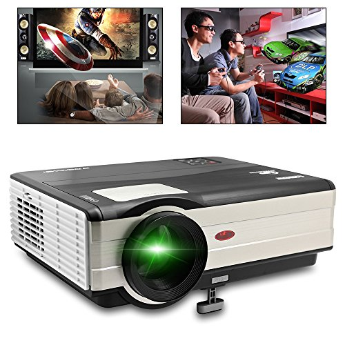 CAIWEI 1080P LCD Projector (3000 Lumnes Native:1024*768) LED Home Theater Video Projector Portable Smart Beam Projector