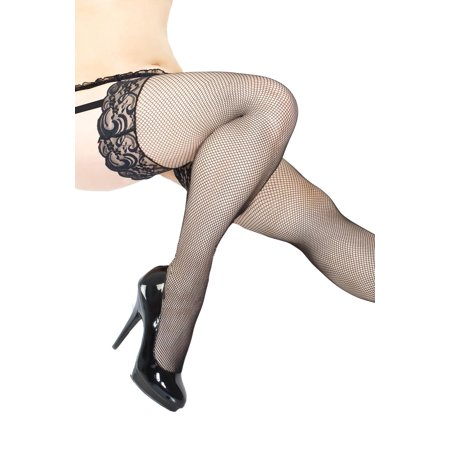 bdffa067902 Plus Size Full Figure Fishnet Lace Top Thigh High Stockings - Walmart.com