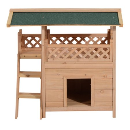 Pawhut 2-Story Indoor/Outdoor Wooden Dog House with Roof