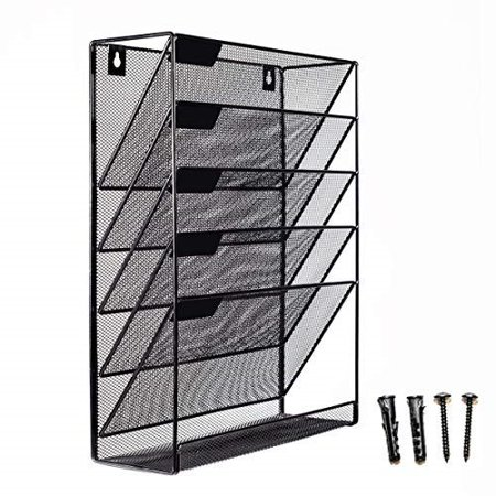 Classroom Paper Organizer (mesh wall mounted hanging mail document file holder organizer tray - 5 tier/compartment vertical mount letter rack - desk paper sorter (black) for office kitchen home classroom gym)