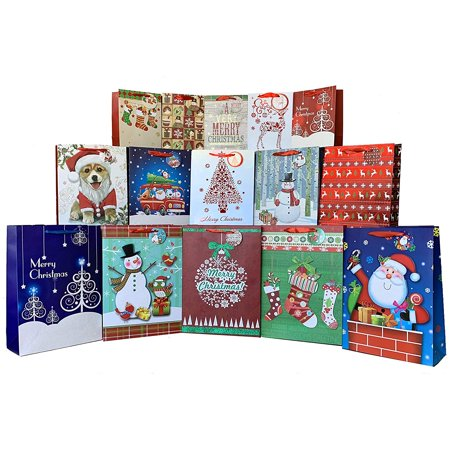 Christmas Gift Bags for Presents - Set of 15, Large, Medium, Small Festive Unique Designs, Gift Tags Included, Holiday Gift - Bags For Presents
