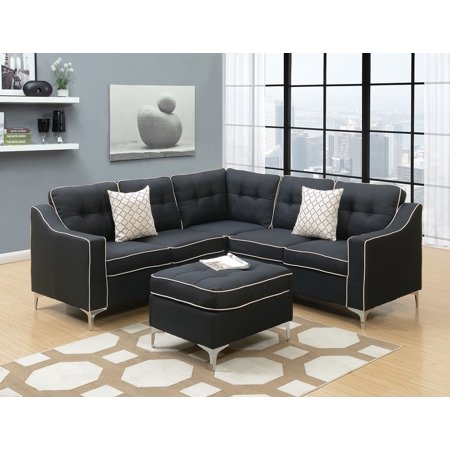 Modern Modular 4pcs L-shaped Sectional Sofa Casual Black Tufted Polyfiber  LAF & RAF One Arm Love-seat Corner Wedge Ottoman Living Room