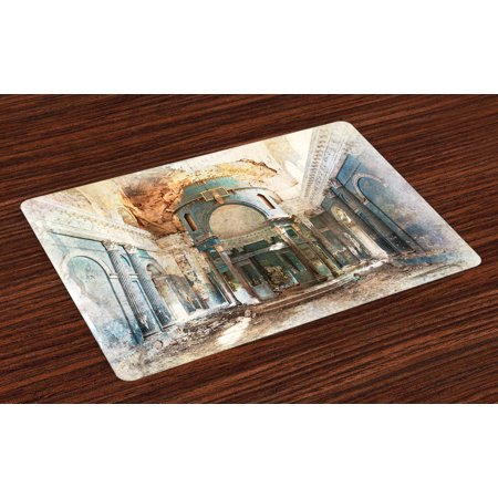 Antique Placemats Set of 4 Old Ancient Abandoned Renaissance Era Architecture With Columns Artwork Print, Washable Fabric Place Mats for Dining Room Kitchen Table Decor,White and Blue, by Ambesonne
