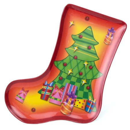 Chef Craft Christmas Stocking Plate w Tree 8.5 in Serving Platter, Orange Green